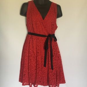 LANE BRYANT size 18 red Lace Fit And Flare Dress